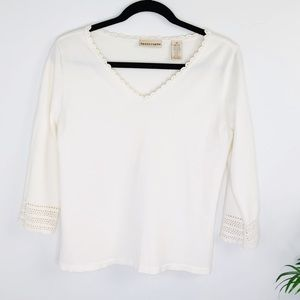 Apostrophe Cream Sweater with Crochet Detail Sz M